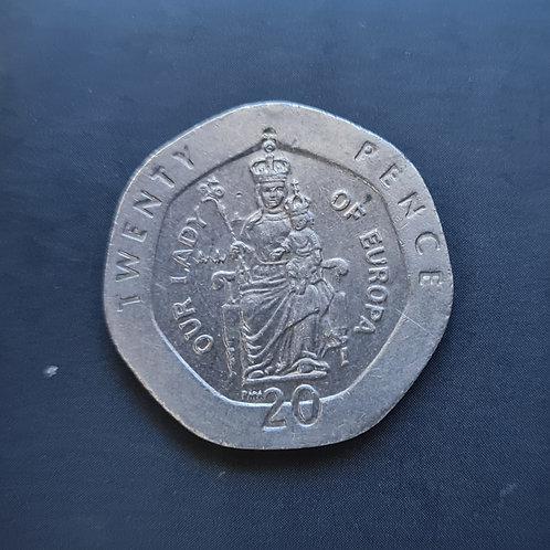 Gibraltar Lady of Europe 20p - 2000