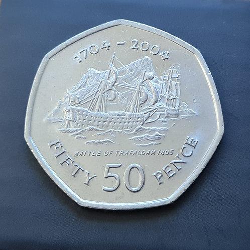 Gibraltar Battle of Trafalgar 50p Coin - 2004 Cupro Nickel