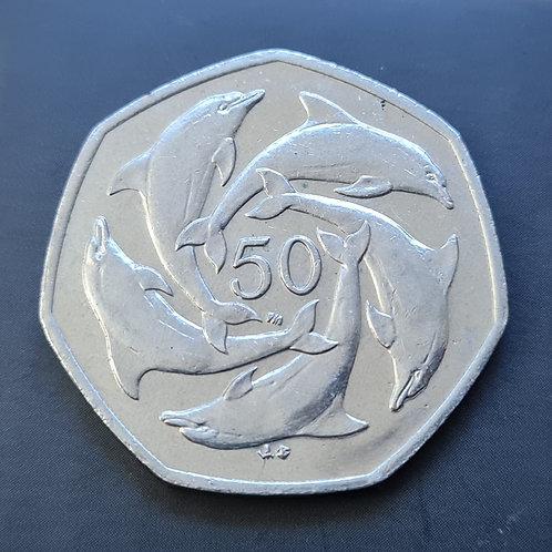 Gibraltar Dolphins 50p Coin - 2001 Cupro Nickel