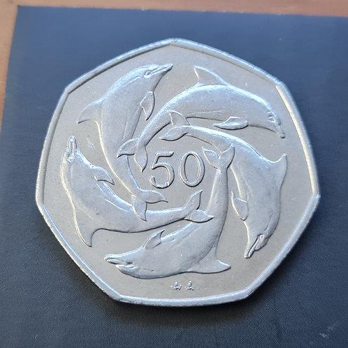 Gibraltar Dolphins 50p Coin - 1997 Cupro Nickel