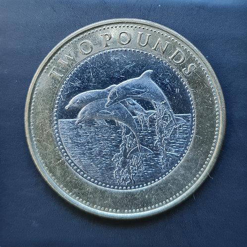 Gibraltar Dolphins £2 Coin - 2015 Bi-Metallic