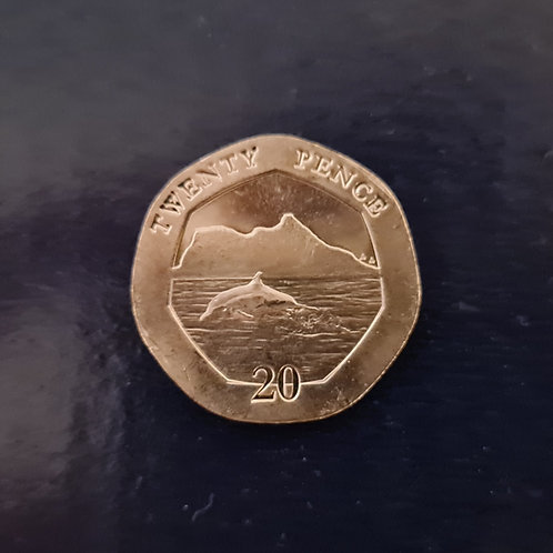 Gibraltar Dolphins 20p Coin - 2020 Cupro Nickel