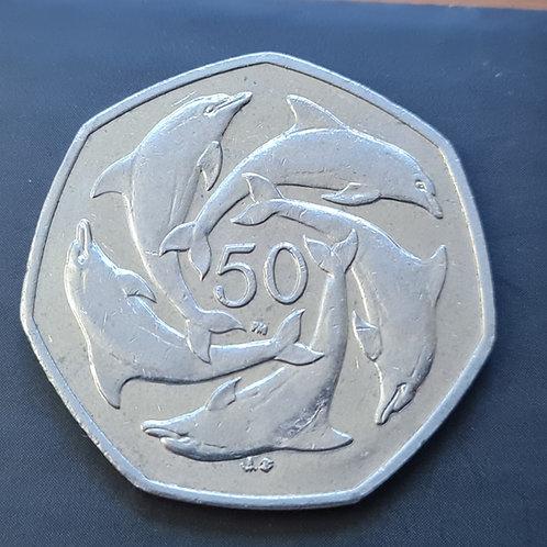 Gibraltar Dolphins 50p Coin - 2003 Cupro Nickel