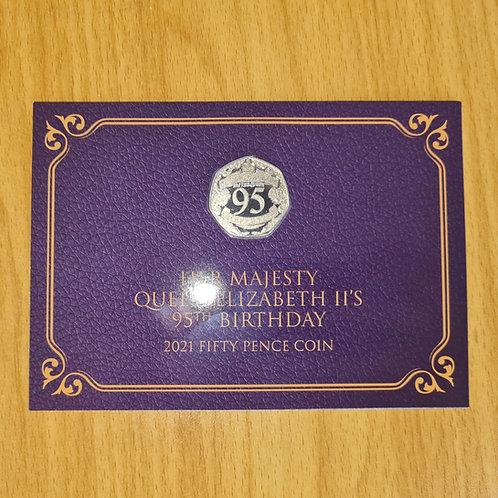 Gibraltar Queen's 95th 50p Coloured Coin in Card - 2021 BUNC