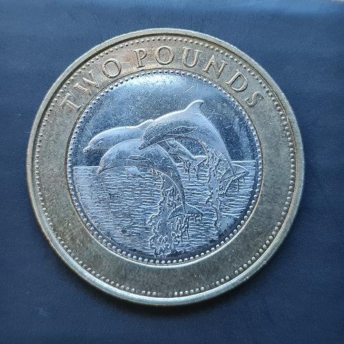 Gibraltar Dolphins £2 Coin - 2014 Bi-Metallic