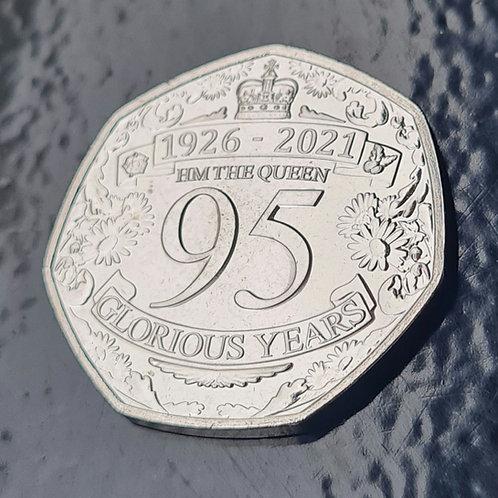 Queen's 95th Birthday 50p Coin - 2021 Cupro Nickel UNC (IN HAND)