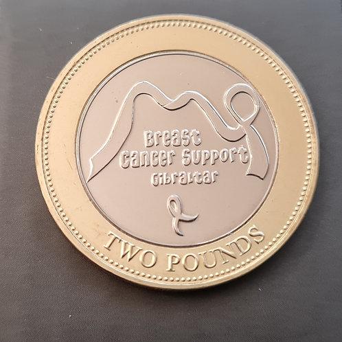 Gibraltar Breast Cancer £2 Coin - 2019 Bimetallic BUNC