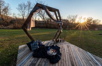 Outdoor Hexagonal Arbor Lounge