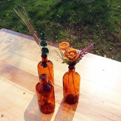 Amber Glass Bud Vase