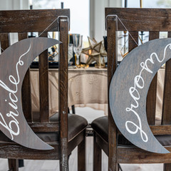 Crescent Moon Bride and Groom Signs
