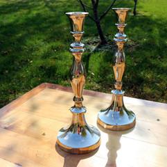 Tall Silver Candlestick Set
