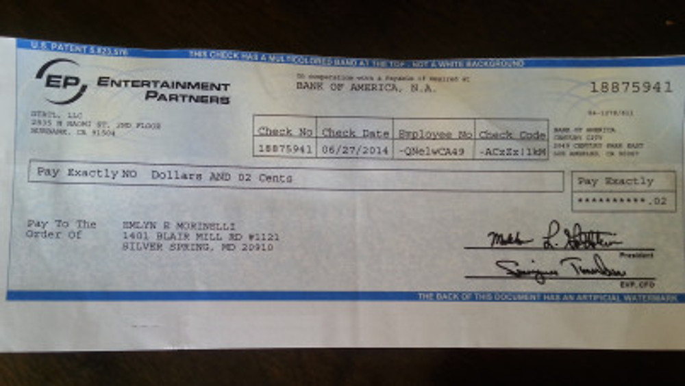 two cent check
