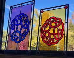 Celtic love knots currently on display in the new studio! #celticloveknot #leadedglass #le