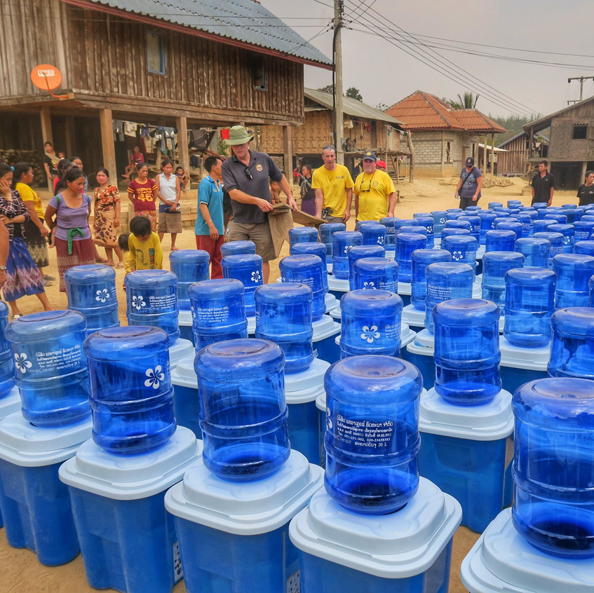 Lots of happy excitement as we unpack and prepare the water filters for the families. This village received 142 filters.