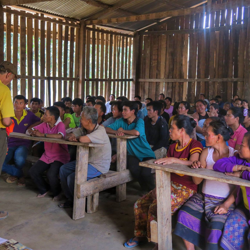 An education session where the villagers learn about the benefits of clean water and how to care for their new water filters.