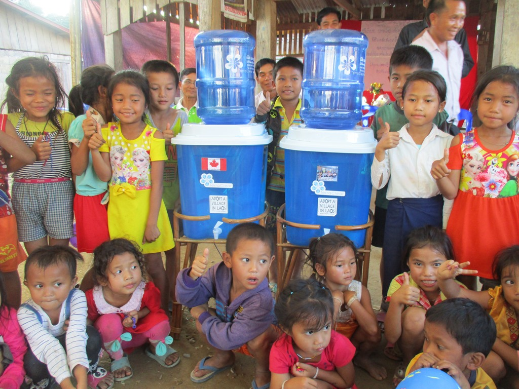 Water filter systems for a village school.  (photo credit: adoptavillageinlaos.wordpress.com)
