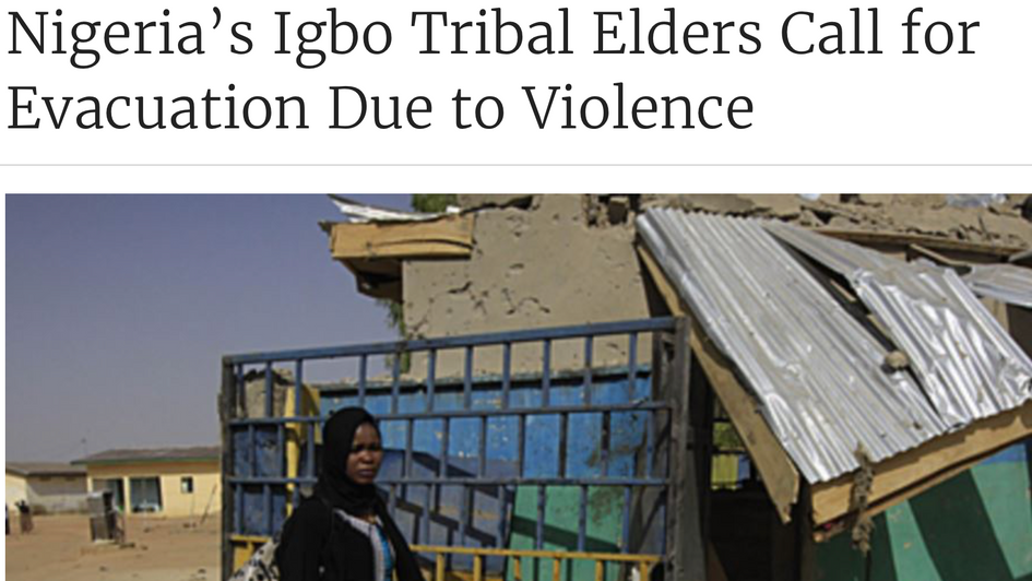 Nigeria's Igbo Tribal Elders Call for Evacuation Due to Violence