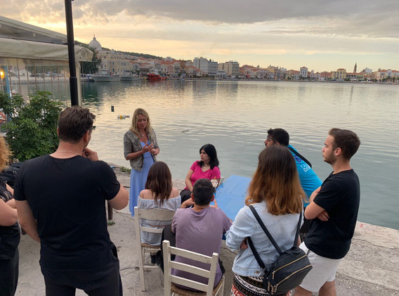Jane running a storytelling workshop for the Hellenic Rescue Team in Lesvos, Greece, in May 2019