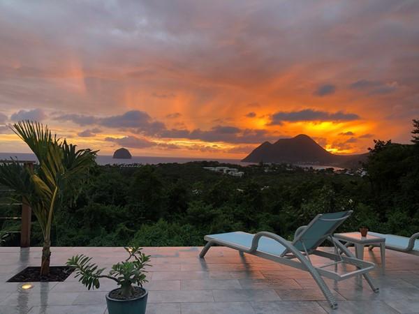 Coucher du soleil sur Le Diamant Martinique
