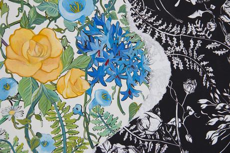 Quand vient le jour, détail,  Peinture acrylique sur impressions numériques contre-collées, 90 cm x 130 cm, 2018
