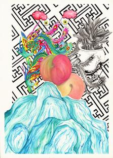 Sans Titre (Shangaï), avec Sébastien Gouju, Encre de chine, aquarelles, acrylique et graphite sur papier. 52,7 x 37,8 cm, 2019