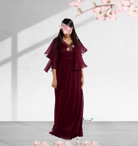 Wine Blossom Gown