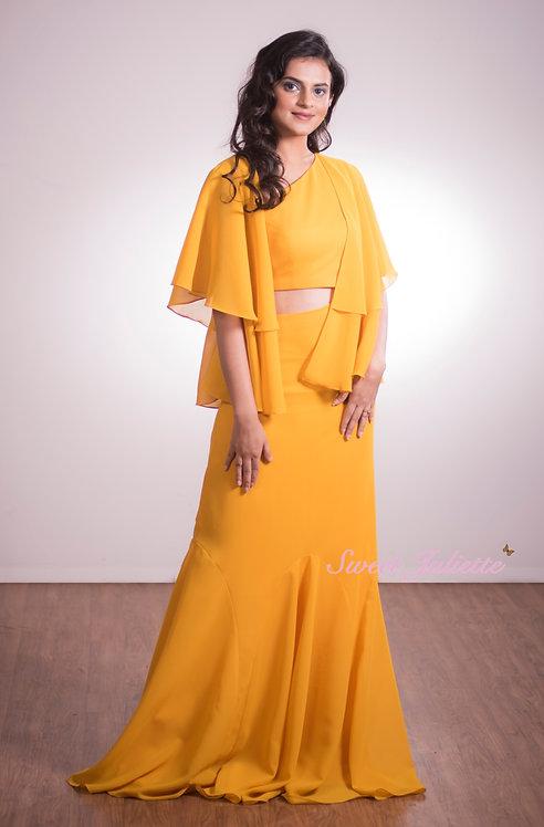 Yellow Primrose Cape Gown