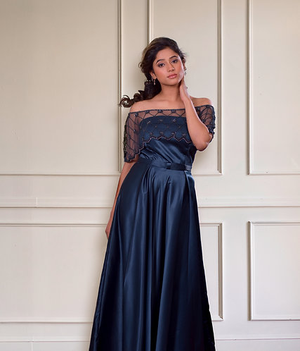 Midnight Blue Cape Gown