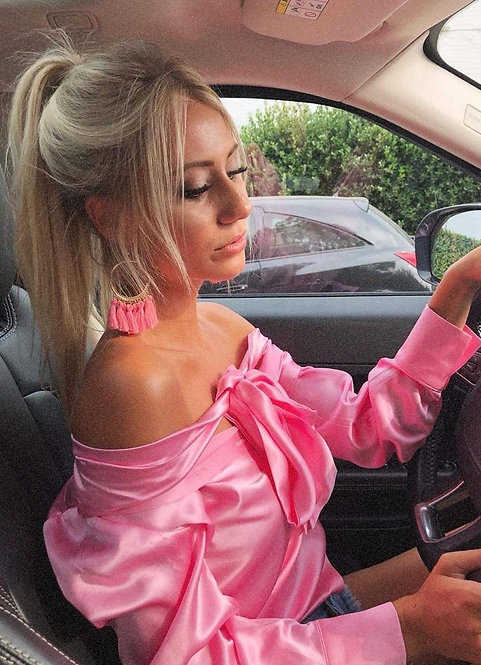 Bubblegum Pink Bow Blouse