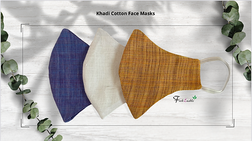 Khadi Cotton Face Masks - Pack of 3 (Assorted)