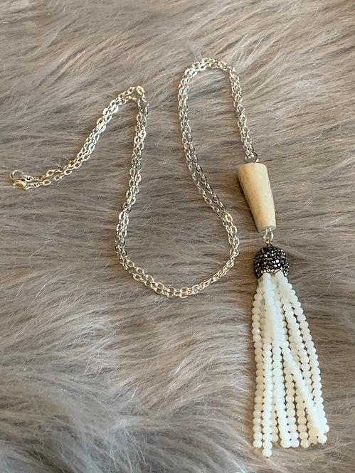 White Tassel Antler Necklace