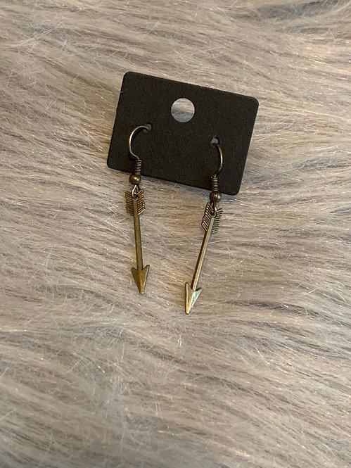 Bronze Arrow Drop Earrings