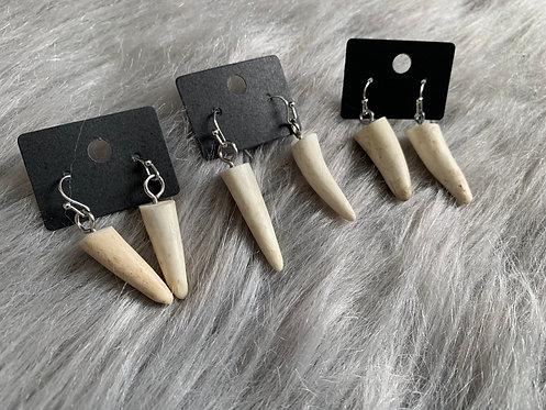 Antler Point Drop Earrings (silver)
