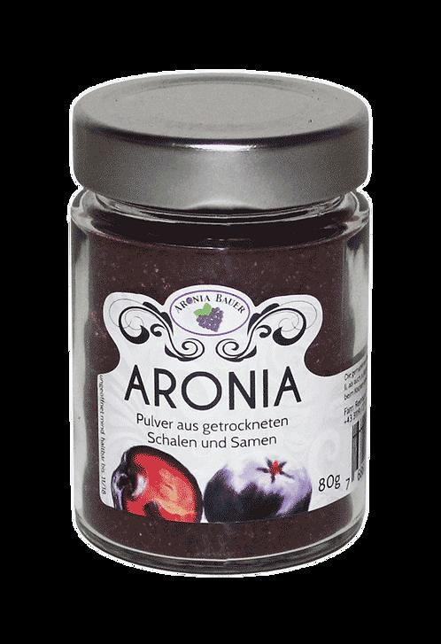 Bio Aronia Pulver - gemahlene Schalen und Samen im Glas
