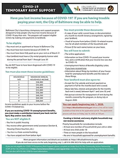COVID-19 Temporary Rent Support Rental Assistance by the City of Baltimore DHCD