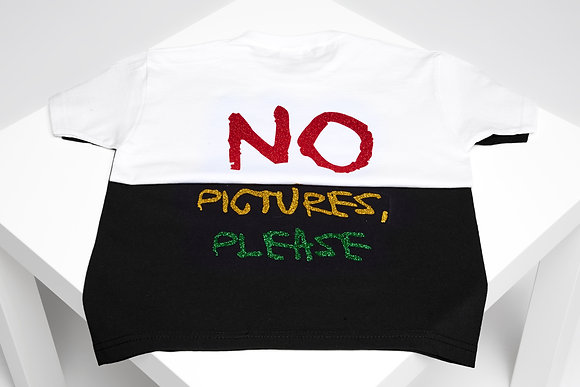 NO PICTURES, PLEASE GLITTER TEE