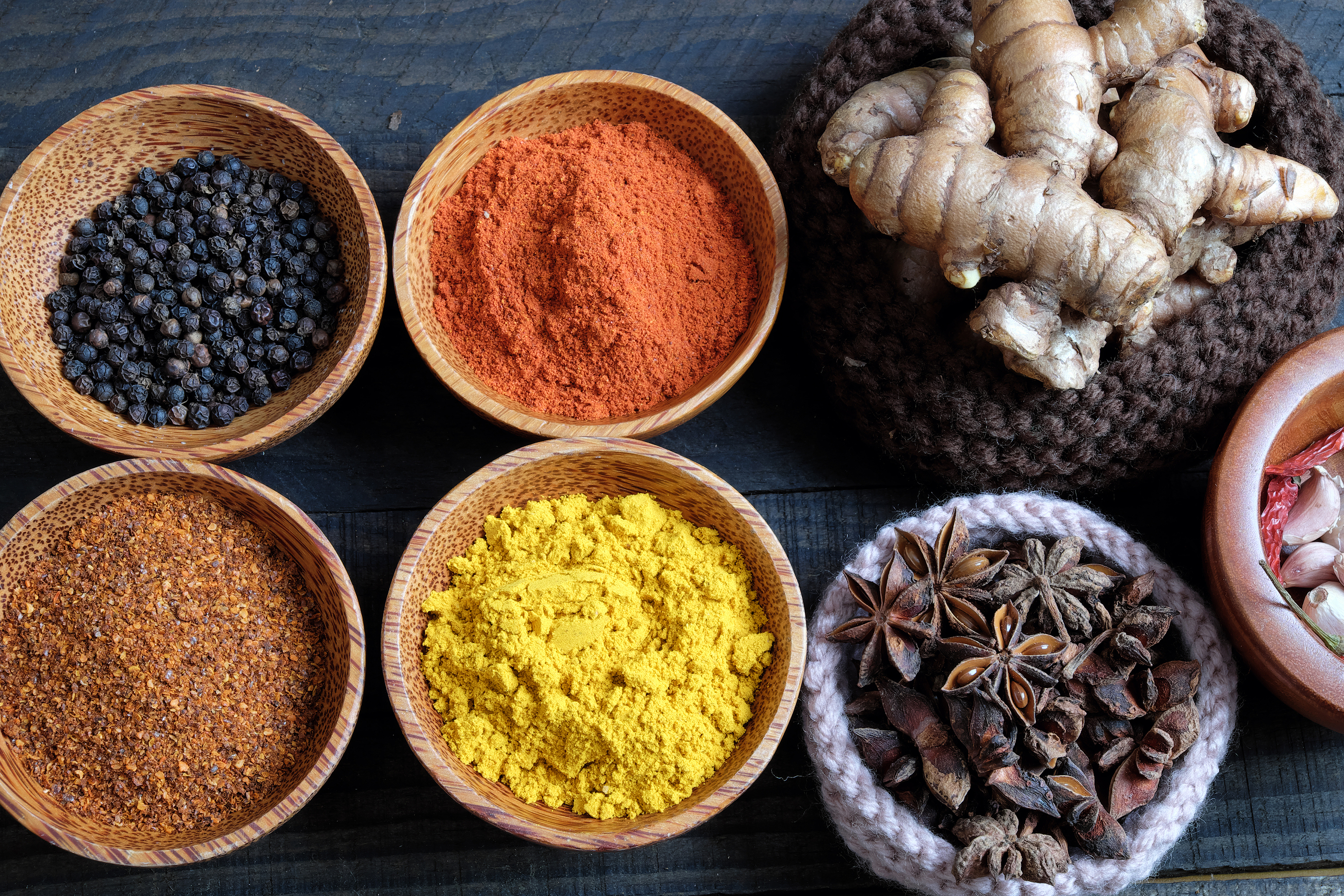 Colorful Spice Powder, Chilli, Pepper, Turmeric, Cashew