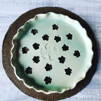 A vos tartes Plat en grès céladon vert #