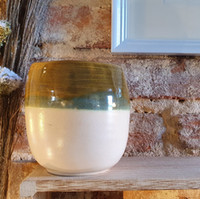 Vase grès blanc émaillé
