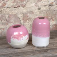 Vases tournées en grès blanc, émail carambar