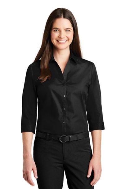 Port Authority® Ladies 3/4-Sleeve Carefree Poplin Shirt