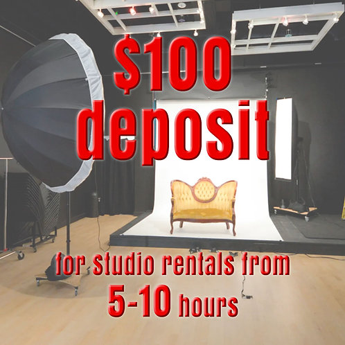 $100 Deposit for Studio Rentals from 5-10 hours