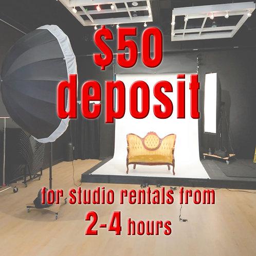 $50 Deposit for Studio Rentals from 2-4 hours