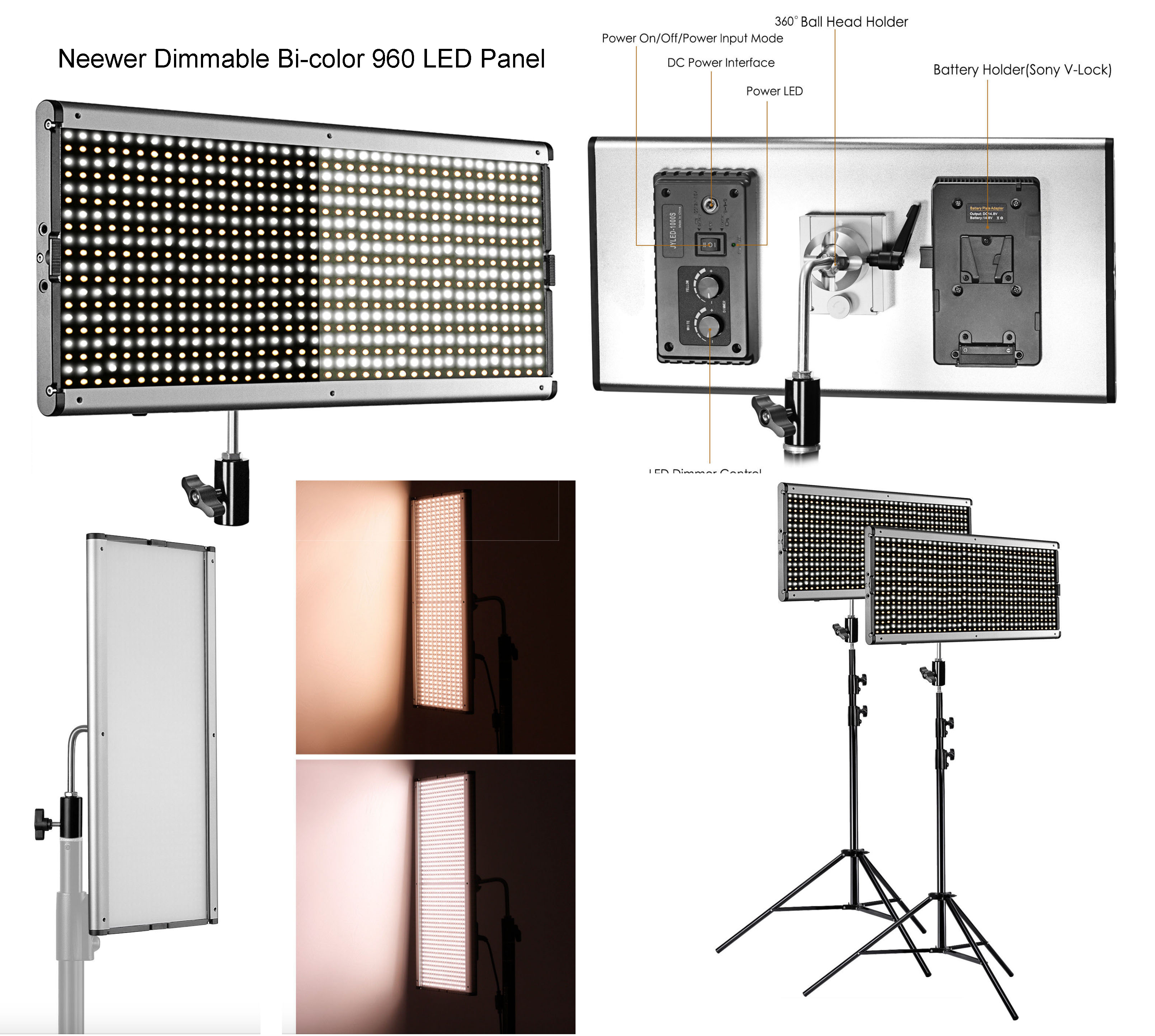 3x_Neewer Dimmable_Bi-color_960_LED_Panel