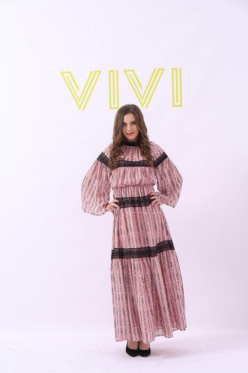Maxi pink dress - فستان وردي طويل شيفون