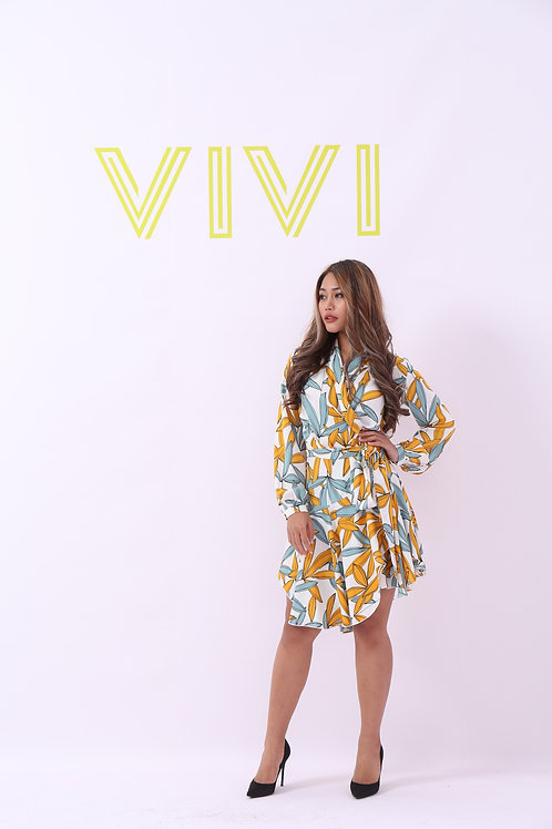 Mini designed Floral dress with belt - فستان قصير بزهور