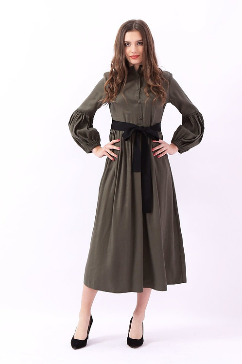 Medi long sleeves dress - فستان طويل ميدي بحزام