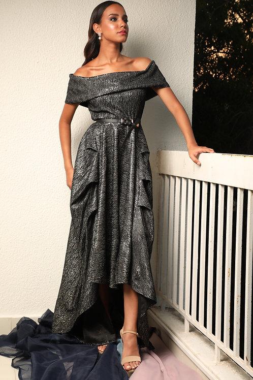 فستان أوف شولدر بلمعة أنيقة -DRESS