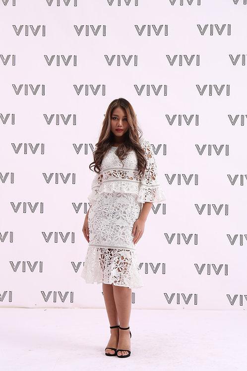 فستان دانتيل ثقيل قصير - تصميم رائع عصري