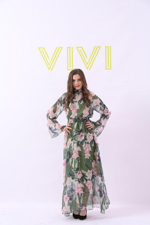 Maxi Chiffon Floral dress -فستان شيفون بزهور زمه من الخصر